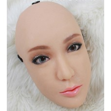 (Ching)Quality Silicone Handmade Sexy And Sweet Half Head Female Face Crossdress Mask Crossdresser Doll Mask