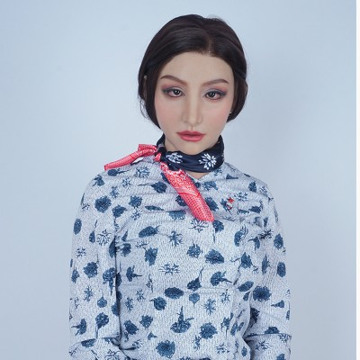(M12)Realistic Human face Crossdress Silicone Full Head Female Face Kigurumi Cosplay DMS Mask Hathaway Crossdresser Drag Queen