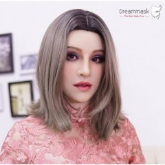 (HAENA 2.0+)Realistic Crossdress Silicone Full Head With Neck Female Kigurumi Cosplay DMS Mask With America Makeup Crossdresser DOLL