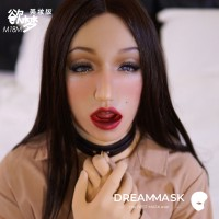 (M18 Violet) New Design Soft Silicone Female Full Head With Mouth Gag  DMS Crossdress Sex Playing Doll Mask