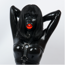 (M08B)Silicone Realistic Transgender Female Black Full Head Kigurumi Crossdress Doll Mask Poppy With Open Mouth Drag Queen Mask