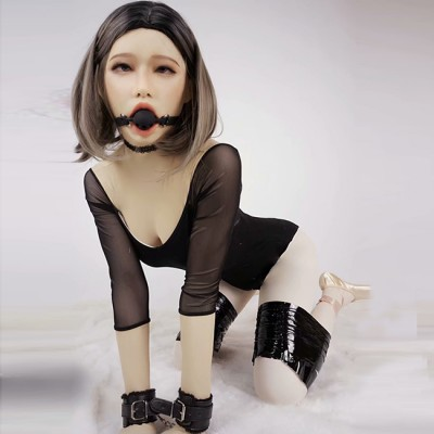 (Poppy)New Design Soft Silicone Female Full Head With Ball Gag  DMS Crossdress Sex Playing Doll Mask