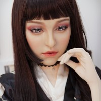 (M10A)Silicone Soft Realistic Transgender Female Full Face Kigurumi Crossdress Doll Mask 'Aglaia' Special Makeup Version