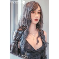 (M16+)Oriental Beauty Realistic Human Crossdress Silicone Full Head Female Kigurumi Cosplay DMS Mask 'HEBE' Neck Version