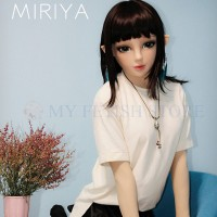 (Miriya) Fetish Crossdress Handmade Soft Silicone Female Girl Face Half Head Kigurumi Mask With BJD Eyes And Elf Ear Crossdresser Doll Mask