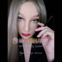(RB11) Soft Silicone Crossdress Female/Girl/Lady DMS Half Head Mask Rosa With Luxury Custom Makeup 'Bloody Queen' Fetish Doll