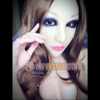 (RB16) Soft Silicone Crossdress Female/Girl/Lady DMS Half Head Mask Rosa With Luxury Custom Makeup 'Blue Enchantress' Fetish Doll