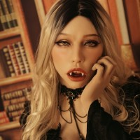 (Poppy+)Vampire Makeup New Design Soft Silicone Female Full Head With Ball Gag  DMS Crossdress Sex Playing Doll Mask