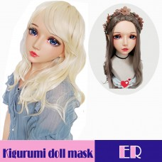 (Er)Crossdress Sweet Girl Resin Half Head Female Elf Ear Kigurumi Mask With BJD Eyes Cosplay Anime Doll Mask