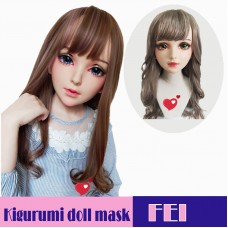 (Fei)Crossdress Sweet Girl Resin Half Head Female Kigurumi Mask With BJD Eyes Cosplay Anime Doll Mask