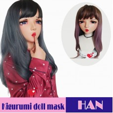 (Han)Crossdress Sweet Girl Resin Half Head Female Kigurumi Mask With Tongue And BJD Eyes Cosplay Anime Doll Mask