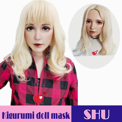 (Shu)Crossdress Sweet Girl Resin Half Head Female Kigurumi Mask With BJD Eyes Cosplay Anime Doll Mask