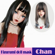 (Chan)Crossdress Sweet Girl Resin Half Head Female Kigurumi Mask With BJD Eyes Cosplay Anime Doll Mask