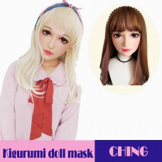 (Ching)Crossdress Sweet Girl Resin Half Head Female  BJD Eyes Cosplay Anime Kigurumi Doll Mask
