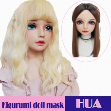 (Hua)Crossdress Sweet Girl Resin Half Head Female Kigurumi Mask With BJD Eyes Cosplay Anime Doll Mask
