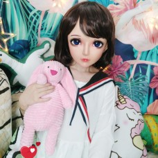 (Zhi)Crossdress Sweet Girl Resin Half Head Female Cartoon Character Kigurumi Mask With BJD Eyes Cosplay Anime Role Lolita Doll Mask
