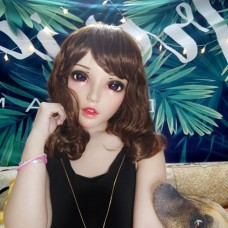 (FU)Crossdress Sweet Girl Resin Half Head Female Cartoon Character Kigurumi Mask With BJD Eyes Cosplay Anime Role Lolita Doll Mask