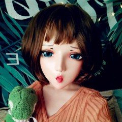 (Han)Crossdress Sweet Girl Resin Half Head Female Cartoon Character Elf Ear Kigurumi Mask With BJD Eyes Cosplay Anime Role Lolita Doll Mask