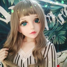 (HUA)Crossdress Sweet Girl Resin Half Head Female Cartoon Character Kigurumi Mask With BJD Eyes Cosplay Anime Role Lolita Doll Mask