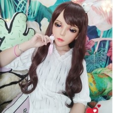 (JIAO)Crossdress Sweet Girl Resin Half Head Female Cartoon Character Kigurumi Mask With BJD Eyes Cosplay Anime Role Lolita Doll Mask