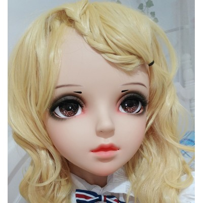 (SHELLY)Crossdress Sweet Girl Resin Half Head Female Cartoon Character Kigurumi Mask With BJD Eyes Cosplay Anime Role Lolita Doll Mask