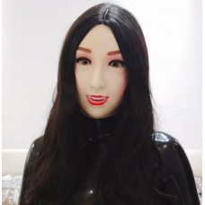 (Xinru) Quality Handmade Plastic Realist Full Head Female/Girl Crossdress Sexy Doll Face Cosplay Mask