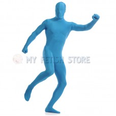 Full Body  Light blue Lycra Spandex Bodysuit Solid Color Zentai  suit Halloween Fancy Dress Costume